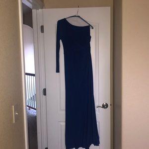 Royal blue one shoulder prom dress!